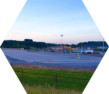 Building process of BCBank Park including Restroom Facilities and a Concession Stand in Barbour County, WV.